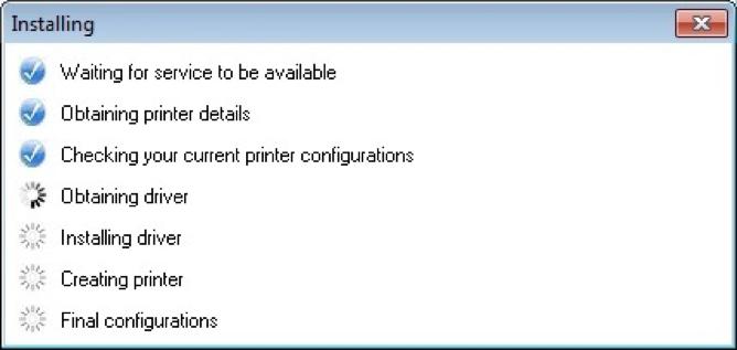 Monitor Printer Installation Progress