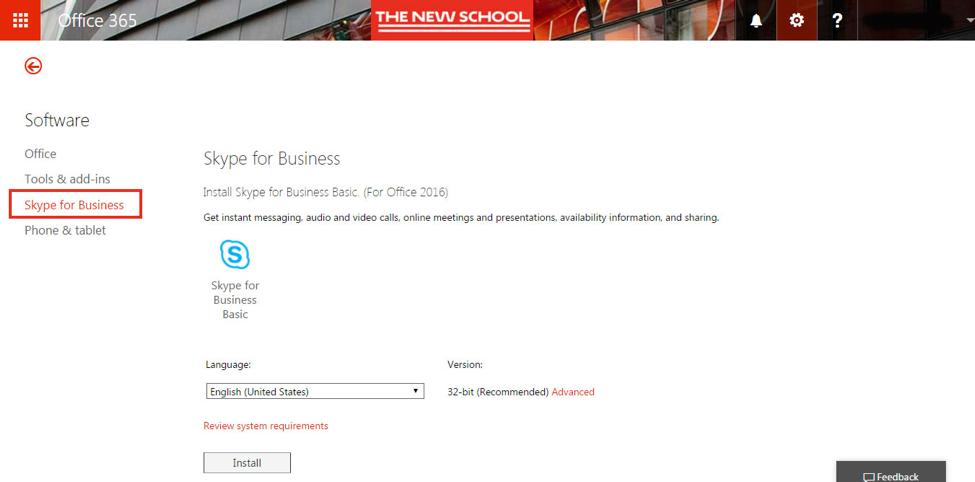 Skype for Business Navigation