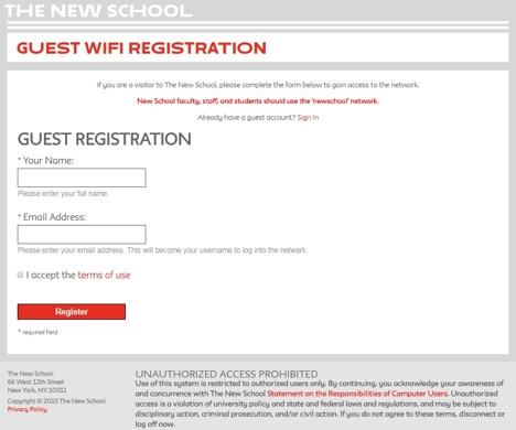 Guest Wifi Registration