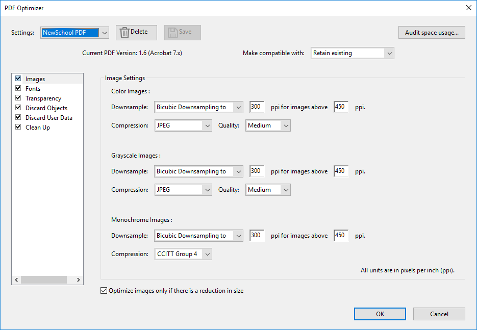 Adobe Save and Optimize Settings for Printing in the Labs
