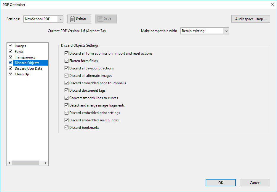Adobe App Save settings and Adobe Acrobat Optimize for Printing in